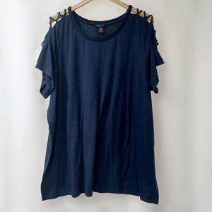 torrid Tops - Torrid Navy Blue Lace-Up Sleeve Top, Size 4